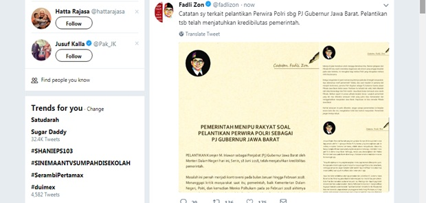 Lantik Iriawan Jadi Pj Gubernur Jabar, Fadli Zon: Pemerintah Menipu Rakyat