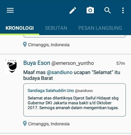Sebut Ucapan Selamat ke Jokowi Bagian Budaya Barat, Sandiaga Disindir Pegiat ICW di Twitter