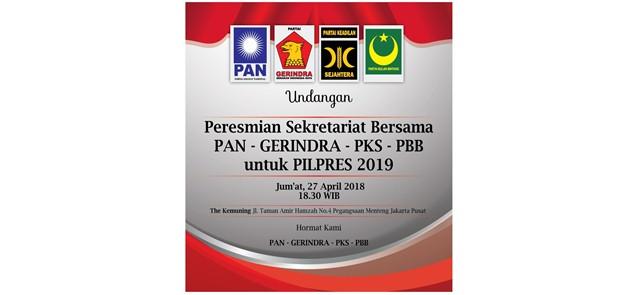 Gerindra, PKS dan PAN Resmikan Sekretariat Bersama Pemenangan Prabowo