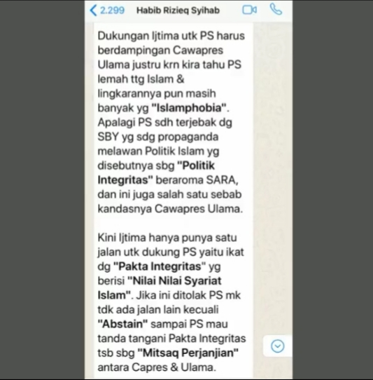 Sebar Chat Habieb Rizieq Ragukan Keislaman Prabowo, Pengamat : Cara Yusril 'Ngga Ngefek'