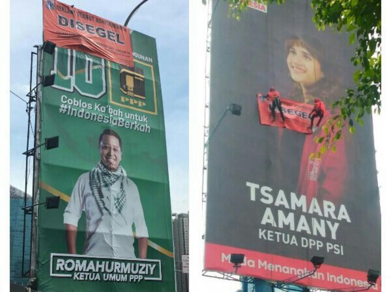 Tim Terpadu DKI Segel Iklan Tsamara Amany dan Romahurmuziy