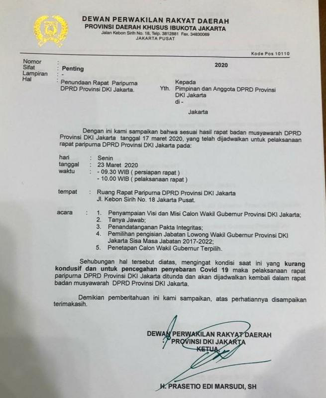 Ketua DPRD DKI Jakarta Tunda Rapat Pemilihan Wagub