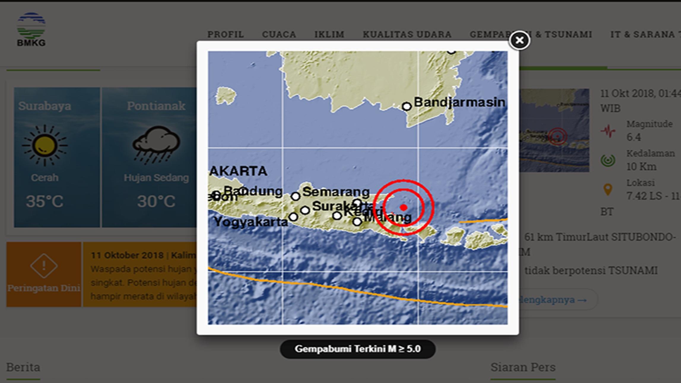 Situbondo Diguncang Gempa 6,4 SR, 3 Orang Dilaporkan Tewas