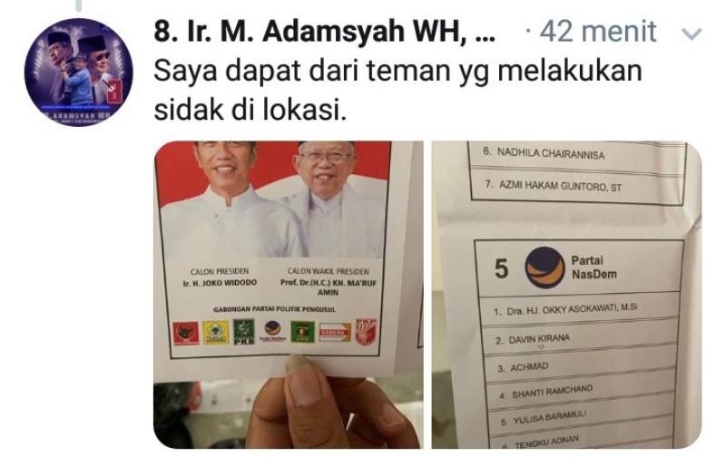 Terbongkar di Malaysia! Surat Suara Dicoblos untuk 01 dan Caleg Nasdem