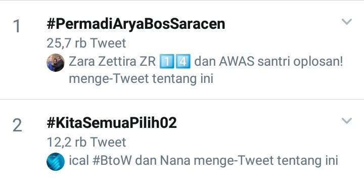 Tagar #PermadiAryaBosSaracen Puncaki Tranding Topic Twitter Indonesia