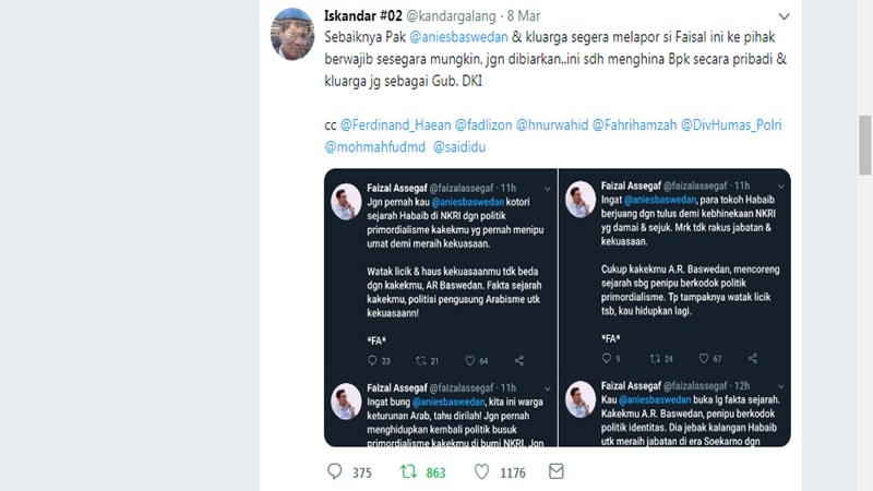 Warganet Sarankan Anies Baswedan Laporkan Faizal Assegaf