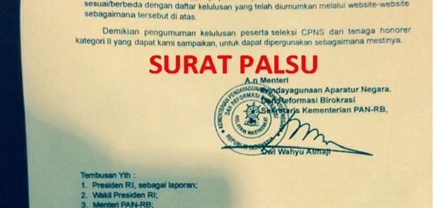 Masyarakat Dihimbau Hati-Hati Banyak Beredar SK Palsu Pengangkatan CPNS