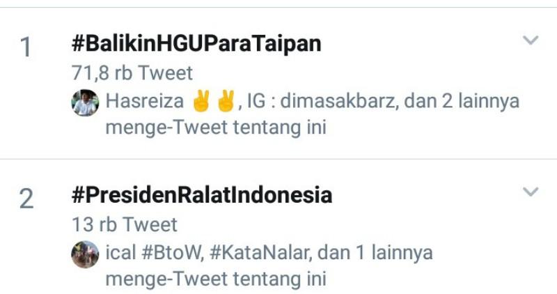 Blunder Jokowi Soal Lahan Prabowo Naikkan #BalikinHGUParaTaipan ke Puncak Trending Topics