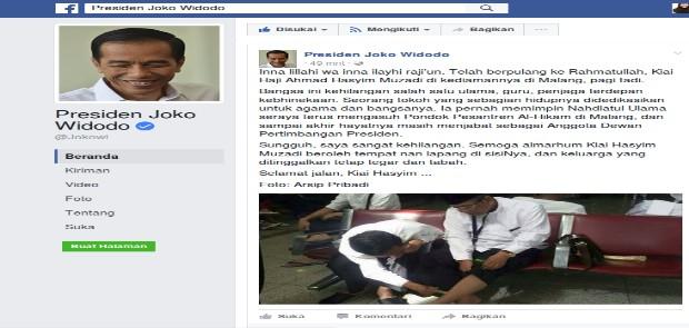 Jokowi Unggah Foto Oleskan Minyak Kayu Putih ke Kaki Hasyim Muzadi