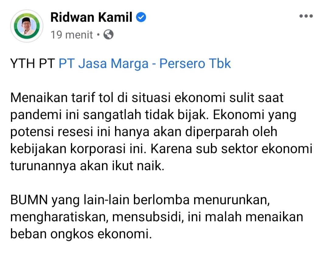 Tarif Tol Cipularang dan Padaleunyi Naik, Ridwan Kamil Buat Surat Terbuka Ke Jasa Marga