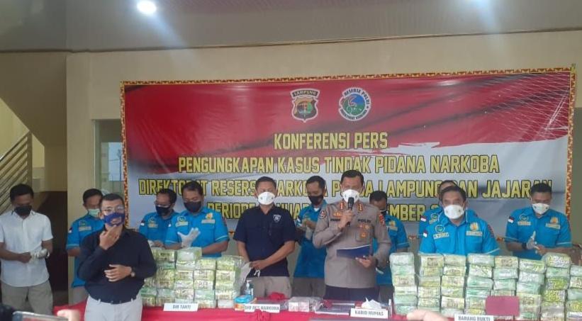 Polda Lampung Dalam Kurun Waktu 9 Bulan Berhasil Gagalkan Ratusan Kilogram Narkoba