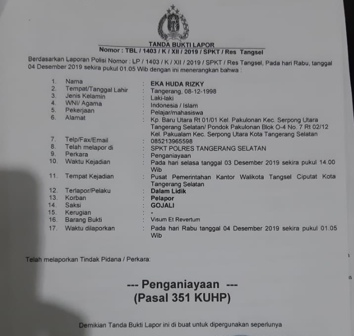Geruduk Kantor Walikota, Oknum Massa FBR Diduga Aniaya Jurnalis di Tangsel