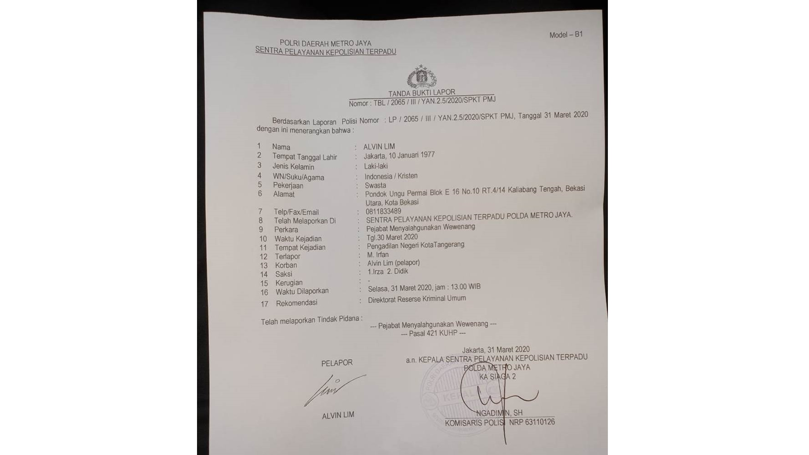Abaikan Terdakwa Yang Diduga Sakit Di Sidang Online, Hakim PN Tangerang Dipolisikan