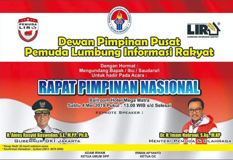 Rapimnas DPP Pemuda Lira Dinilai Langgar Hak Cipta dan Tak Punya Legalitas