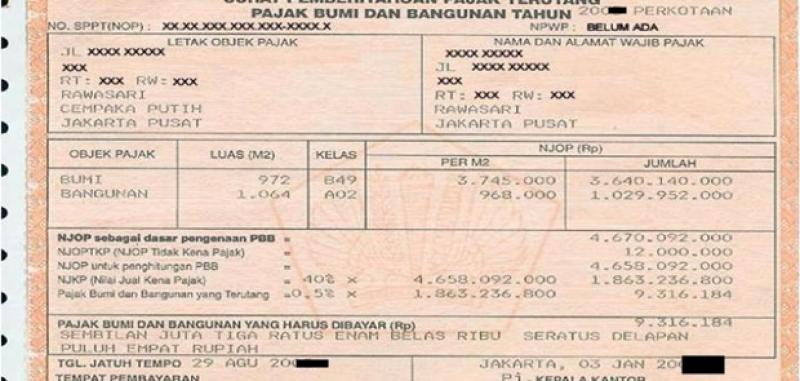 WP Telat Bayar PBB di Jakarta Didenda 2 Persen per Bulan